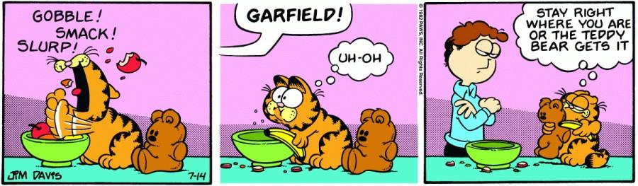 Оригинал комикса про Гарфилда от 14 июля 1982 года