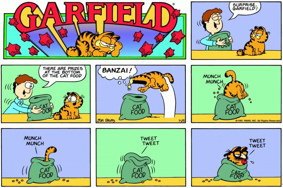 Оригинал комикса про Гарфилда от 25 июля 1982 года