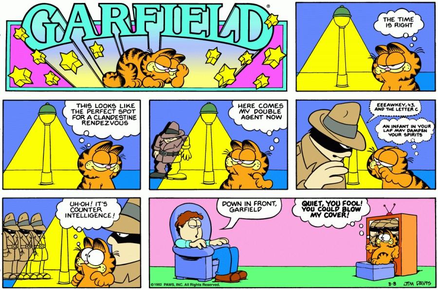 Оригинал комикса про Гарфилда от 08 августа 1982 года