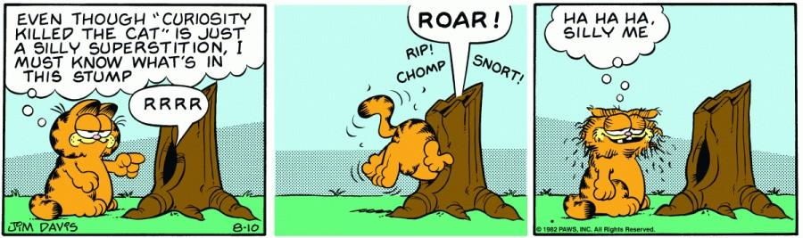 Оригинал комикса про Гарфилда от 10 августа 1982 года