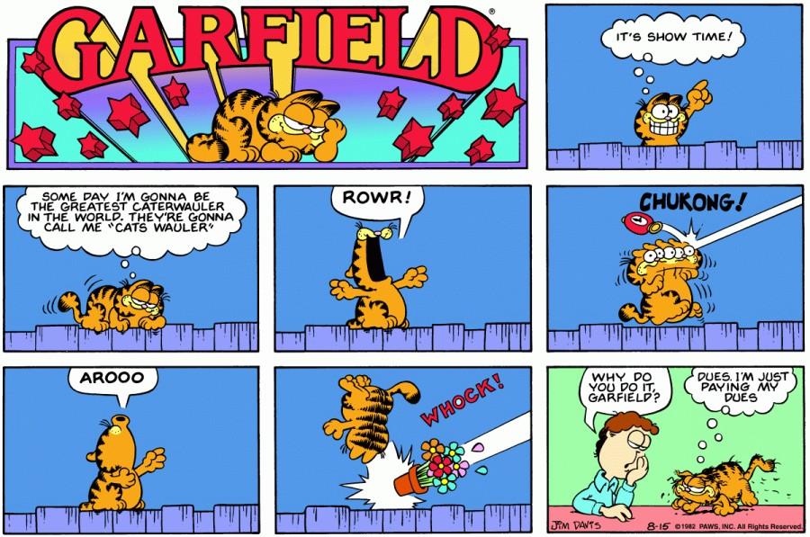 Оригинал комикса про Гарфилда от 15 августа 1982 года