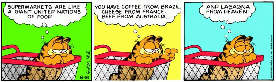 Оригинал комикса про Гарфилда от 18 августа 1982 года