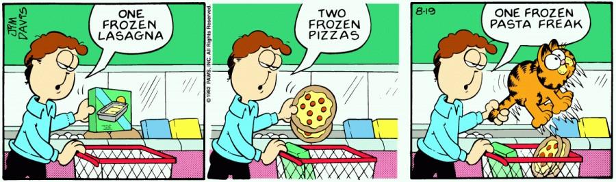 Оригинал комикса про Гарфилда от 19 августа 1982 года