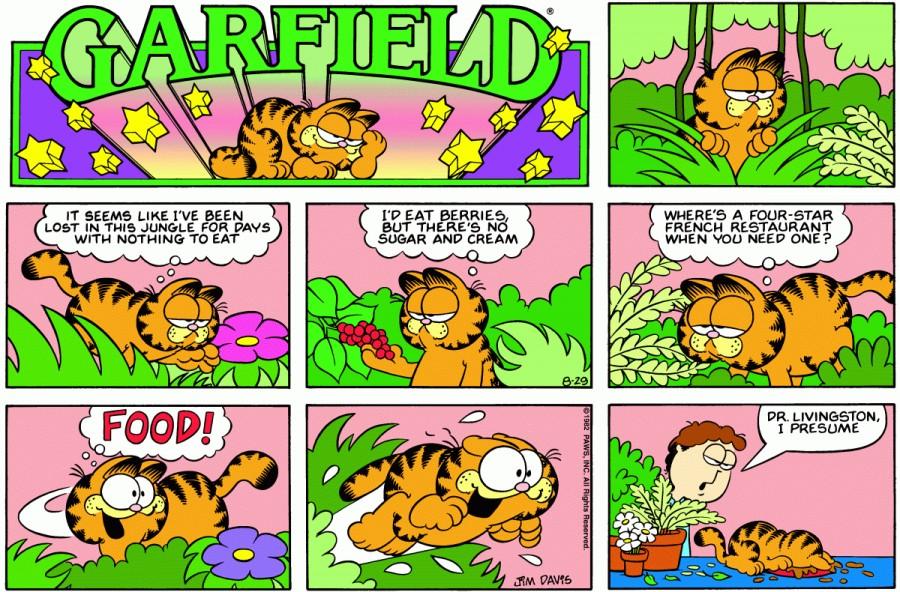 Оригинал комикса про Гарфилда от 29 августа 1982 года