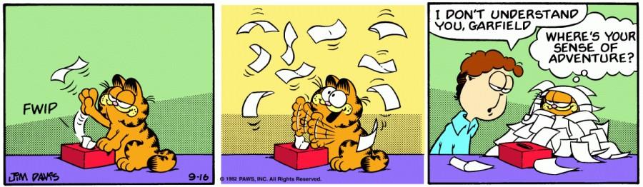 Оригинал комикса про Гарфилда от 16 сентября 1982 года