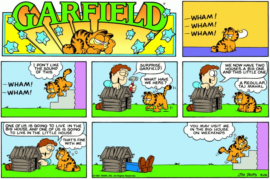 Оригинал комикса про Гарфилда от 26 сентября 1982 года