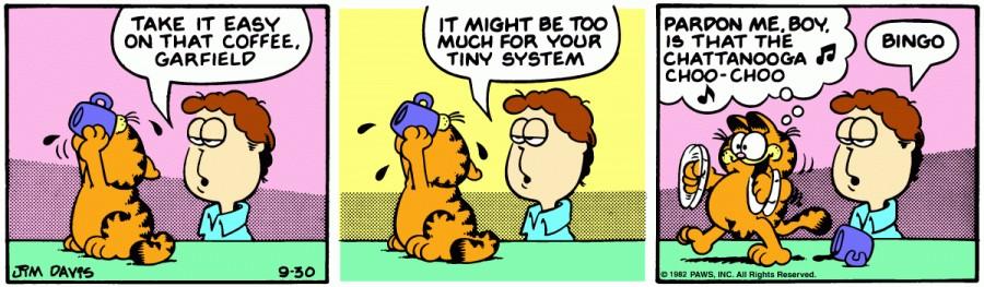 Оригинал комикса про Гарфилда от 30 сентября 1982 года