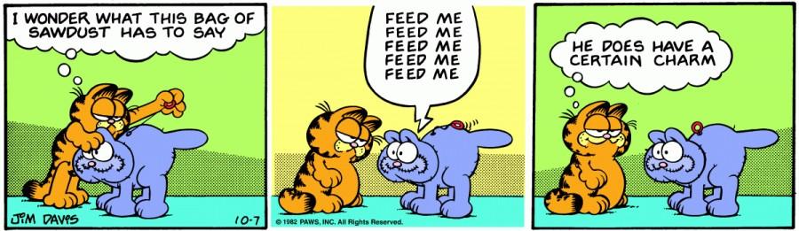 Оригинал комикса про Гарфилда от 07 октября 1982 года