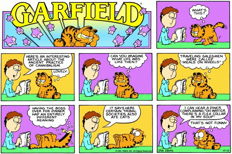 Оригинал комикса про Гарфилда от 10 октября 1982 года