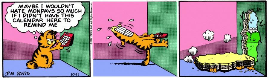 Оригинал комикса про Гарфилда от 11 октября 1982 года