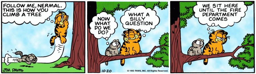 Оригинал комикса про Гарфилда от 20 октября 1982 года