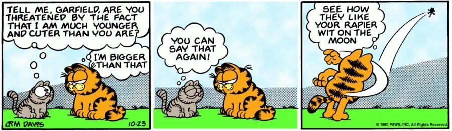 Оригинал комикса про Гарфилда от 23 октября 1982 года