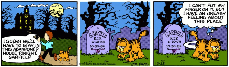 Оригинал комикса про Гарфилда от 28 октября 1982 года