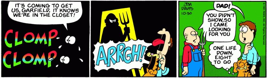 Оригинал комикса про Гарфилда от 30 октября 1982 года