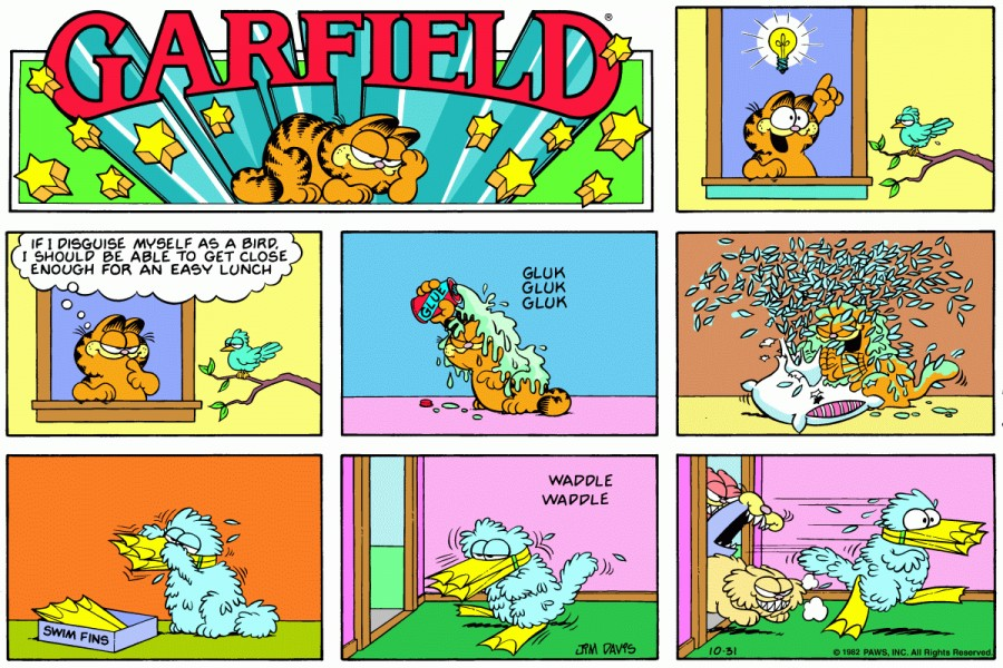 Оригинал комикса про Гарфилда от 31 октября 1982 года
