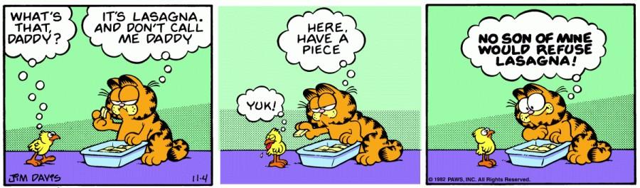 Оригинал комикса про Гарфилда от 04 ноября 1982 года