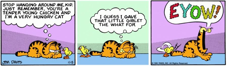 Оригинал комикса про Гарфилда от 05 ноября 1982 года