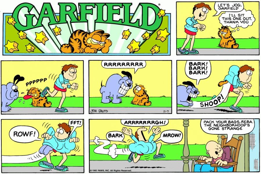 Оригинал комикса про Гарфилда от 07 ноября 1982 года