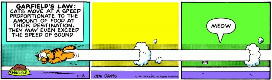 Оригинал комикса про Гарфилда от 08 ноября 1982 года