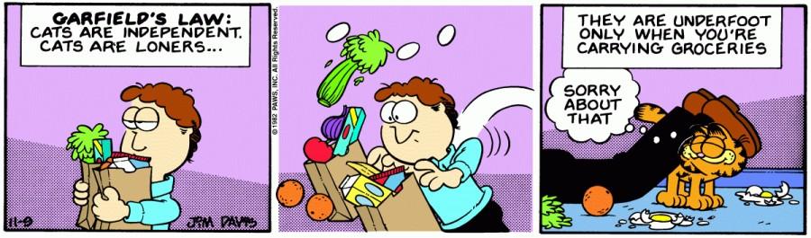 Оригинал комикса про Гарфилда от 09 ноября 1982 года