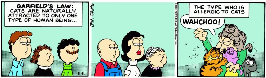 Оригинал комикса про Гарфилда от 11 ноября 1982 года