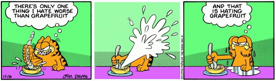 Оригинал комикса про Гарфилда от 16 ноября 1982 года
