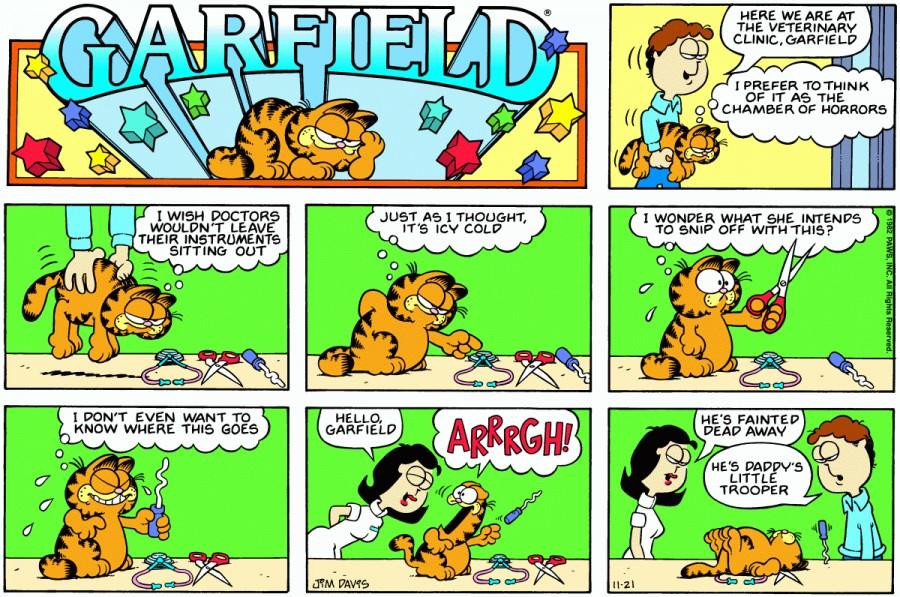 Оригинал комикса про Гарфилда от 21 ноября 1982 года