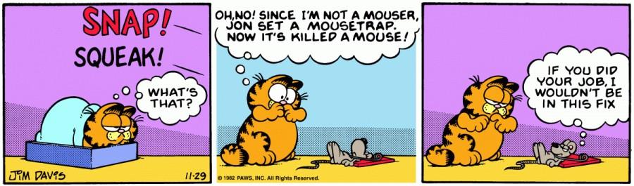 Оригинал комикса про Гарфилда от 29 ноября 1982 года
