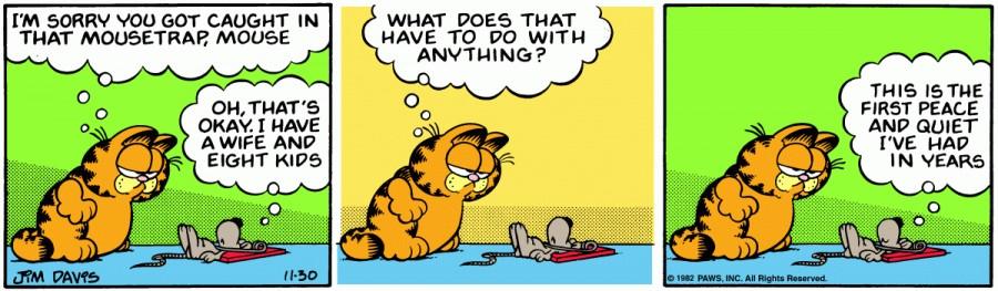 Оригинал комикса про Гарфилда от 30 ноября 1982 года