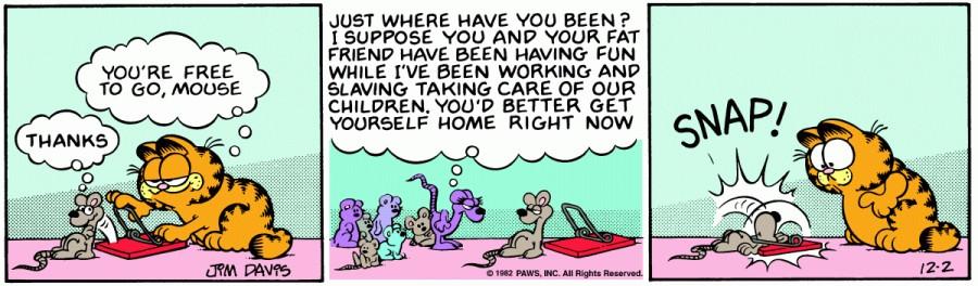 Оригинал комикса про Гарфилда от 02 декабря 1982 года