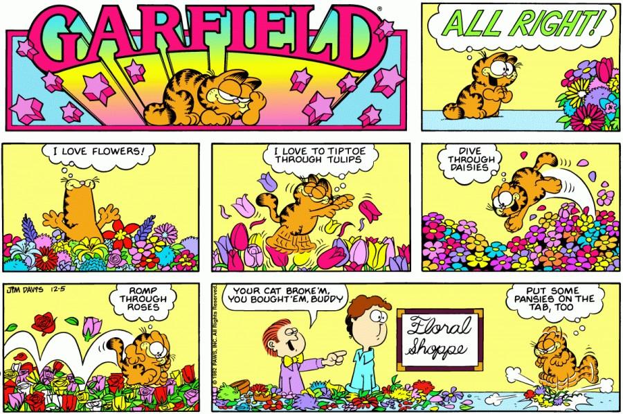 Оригинал комикса про Гарфилда от 05 декабря 1982 года