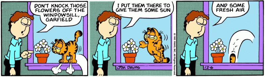 Оригинал комикса про Гарфилда от 06 декабря 1982 года