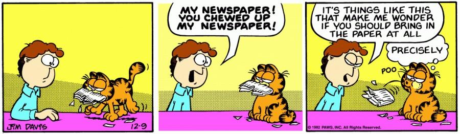 Оригинал комикса про Гарфилда от 09 декабря 1982 года
