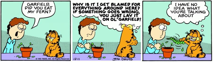 Оригинал комикса про Гарфилда от 11 декабря 1982 года