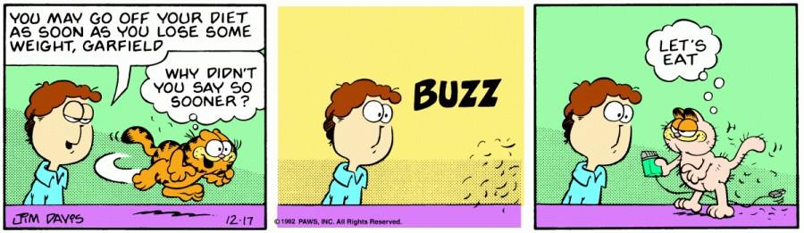 Оригинал комикса про Гарфилда от 17 декабря 1982 года