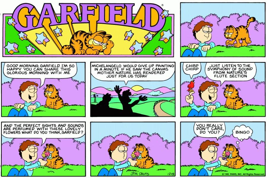 Оригинал комикса про Гарфилда от 19 декабря 1982 года