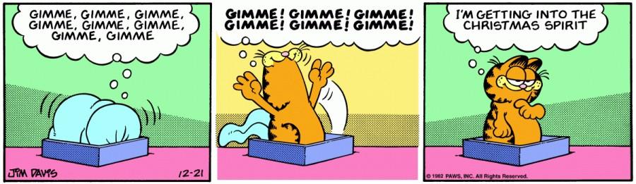 Оригинал комикса про Гарфилда от 21 декабря 1982 года