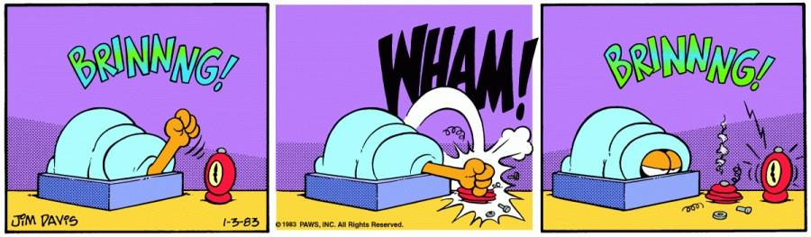 Оригинал комикса про Гарфилда от 03 января 1983 года