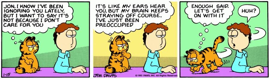 Оригинал комикса про Гарфилда от 15 января 1983 года