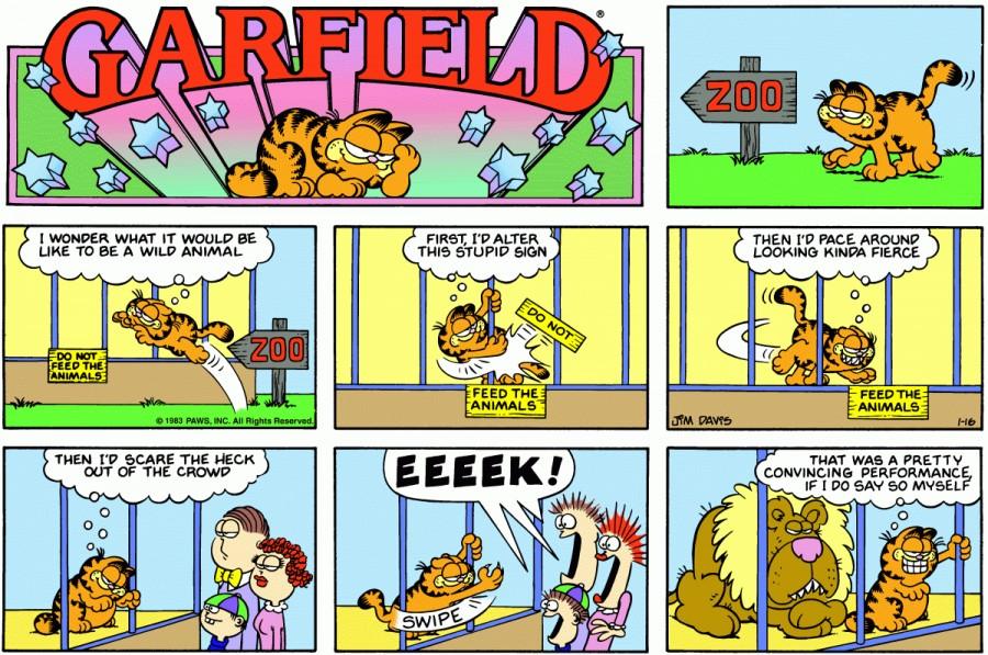 Оригинал комикса про Гарфилда от 16 января 1983 года