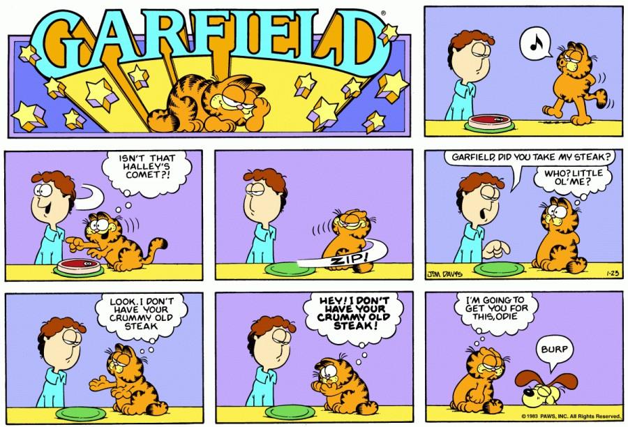 Оригинал комикса про Гарфилда от 23 января 1983 года