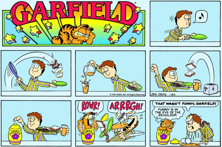 Оригинал комикса про Гарфилда от 30 января 1983 года