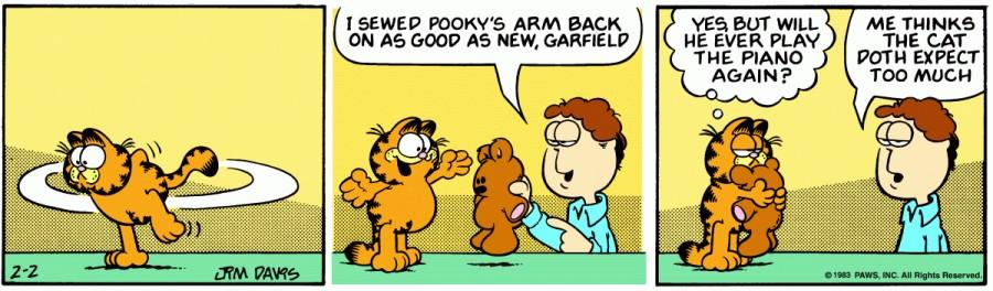 Оригинал комикса про Гарфилда от 02 февраля 1983 года