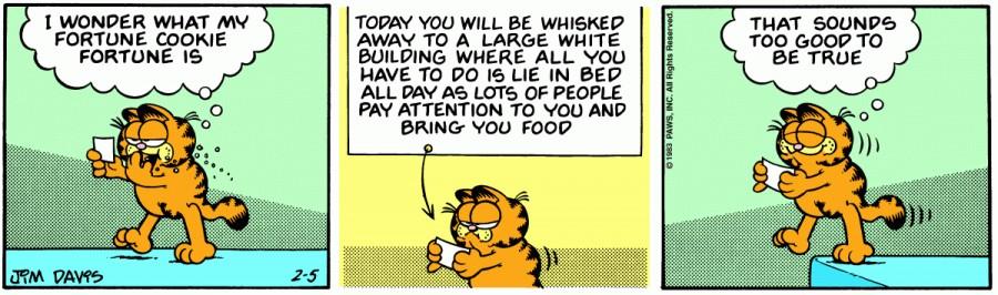 Оригинал комикса про Гарфилда от 05 февраля 1983 года