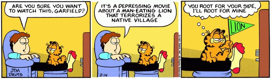 Оригинал комикса про Гарфилда от 14 февраля 1983 года