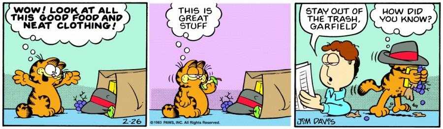 Оригинал комикса про Гарфилда от 26 февраля 1983 года