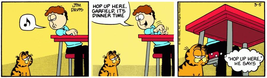 Оригинал комикса про Гарфилда от 05 марта 1983 года
