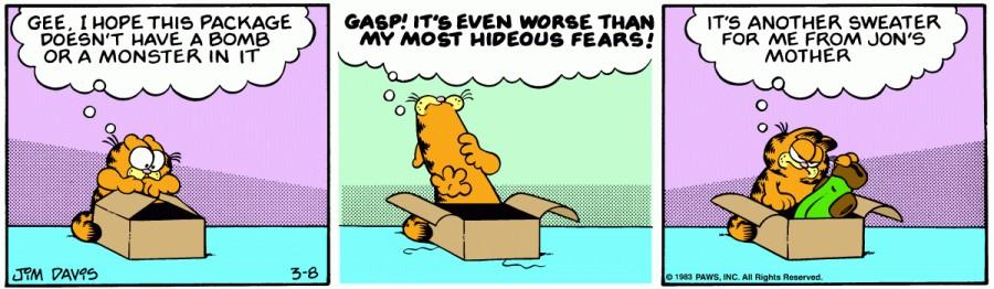 Оригинал комикса про Гарфилда от 08 марта 1983 года