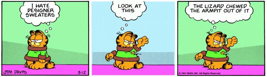 Оригинал комикса про Гарфилда от 12 марта 1983 года