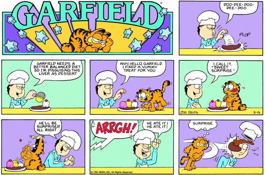Оригинал комикса про Гарфилда от 13 марта 1983 года